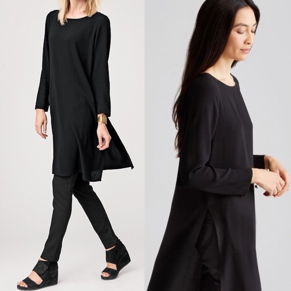 0f876d1edf1211 Eileen Fisher Silk Georgette Crepe Tunic